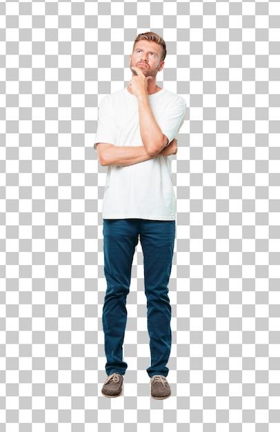 928f46d7c582a Jovem loiro Com um olhar confuso e pensativo, olhando de soslaio Psd Premium
