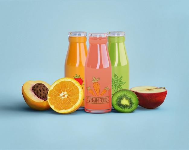 Jugo saludable para el concepto de desintoxicación y frutas PSD gratuito