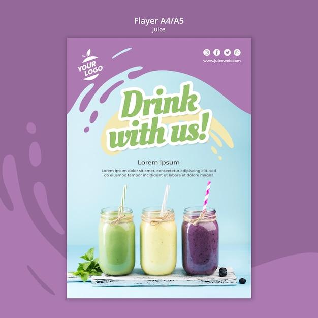 Juice bar flyer-sjabloon Gratis Psd