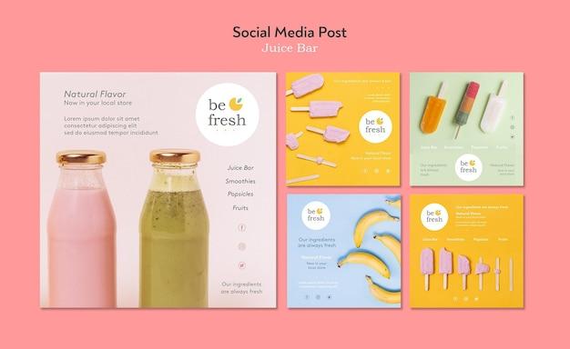 Juice bar social media postsjabloon Gratis Psd
