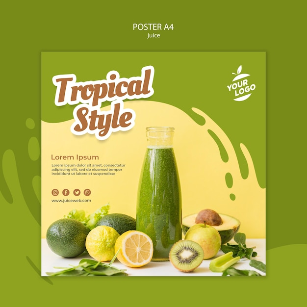 Juice bar vierkante sjabloon folder Gratis Psd
