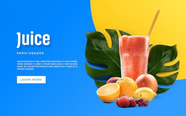 Juice hero header aangepaste scène Premium Psd