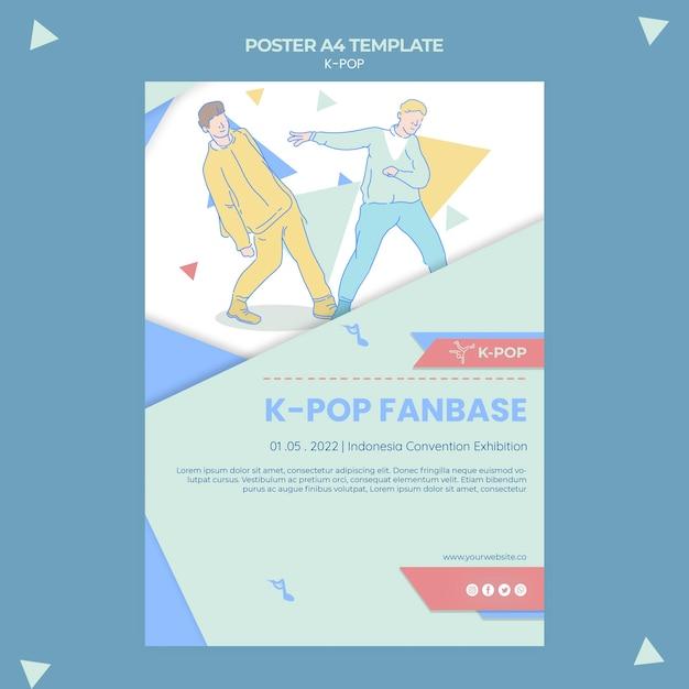 K-pop postersjabloon geïllustreerd Gratis Psd