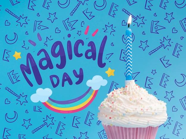 Kaars verlicht in cake voor verjaardagspartij Gratis Psd