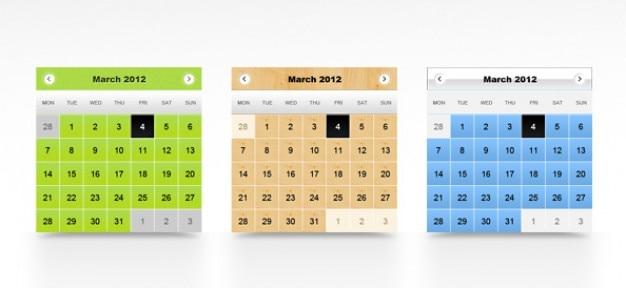Kalender psd templates Gratis Psd