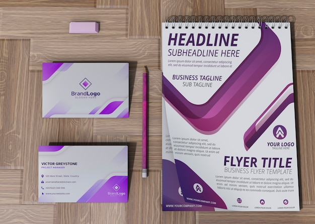 Kantoorkaart en blocnote merkbedrijf bedrijfsmodel papier Gratis Psd