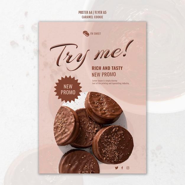 Karamel koekjes poster sjabloon Gratis Psd