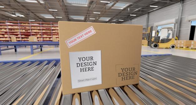 Kartonnen doosmodel in een magazijn Premium Psd