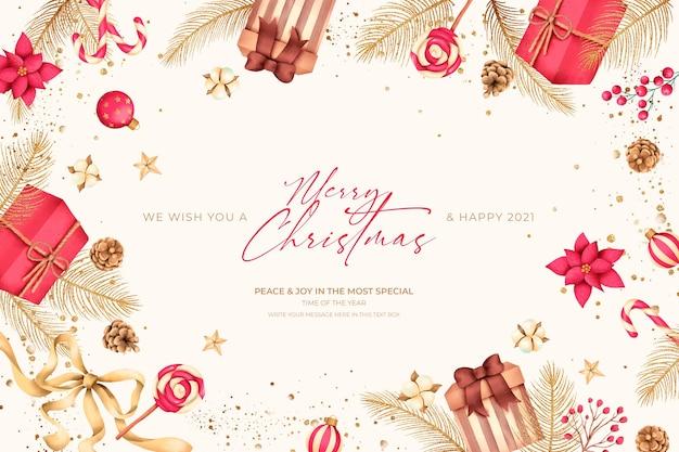 Kerst achtergrond met cadeautjes en ornamenten Gratis Psd