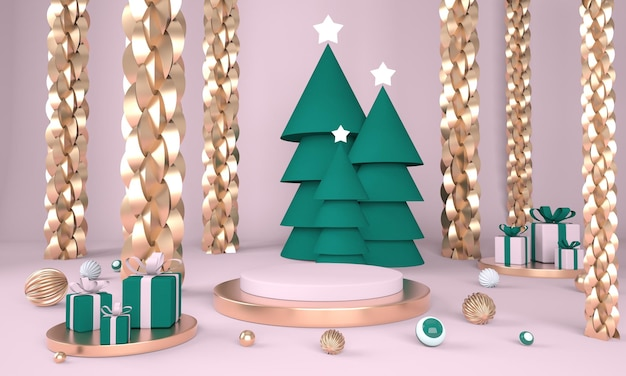 Kerst achtergrond met kerstboom en podium voor productweergave in 3d-rendering Premium Psd