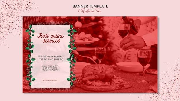 Kerst banner sjabloon concept Gratis Psd