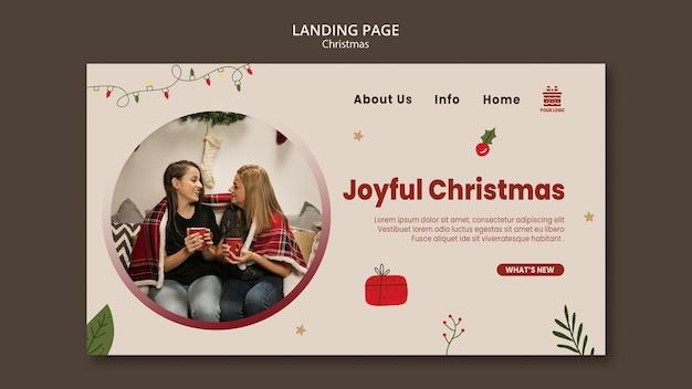 Kerst concept bestemmingspagina sjabloon Gratis Psd