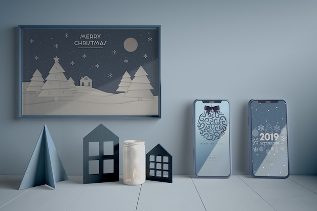 Kerst concept op schilderen Gratis Psd