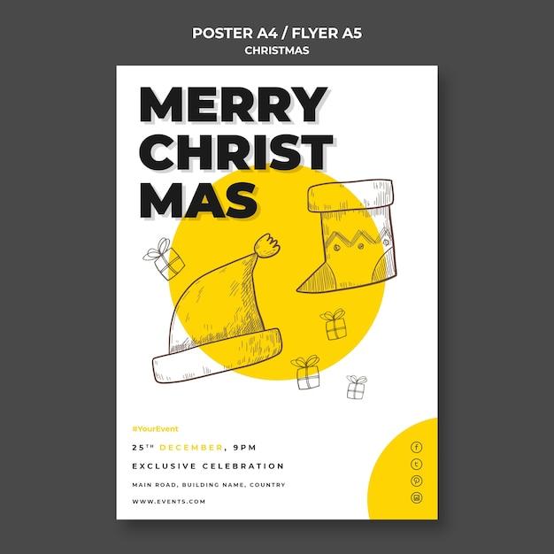 Kerst concept poster sjabloon Gratis Psd