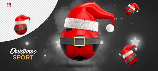Kerst concept sport, voetbal, 3d-rendering Premium Psd
