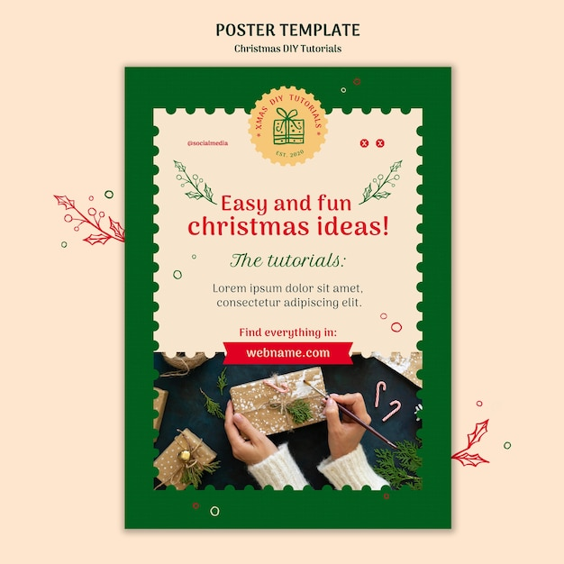 Kerst diy tutorial folder sjabloon Gratis Psd