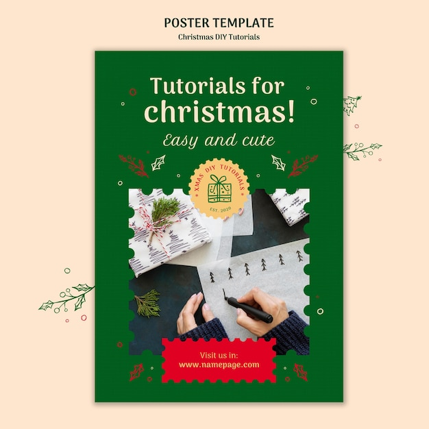 Kerst diy tutorial poster sjabloon Gratis Psd