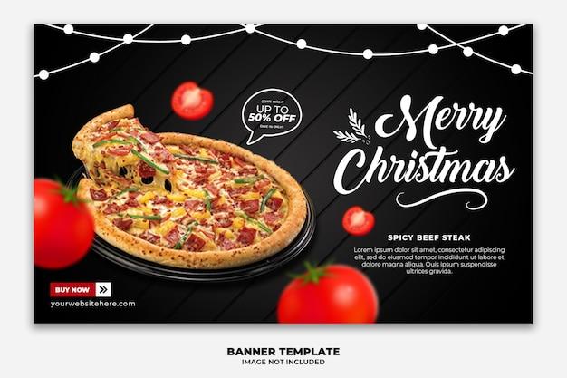 Kerst horizontale webbannermalplaatje voor fast-food restaurantmenu Premium Psd