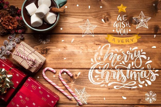 Kerst ornamenten en snoepjes met kopie ruimte Gratis Psd