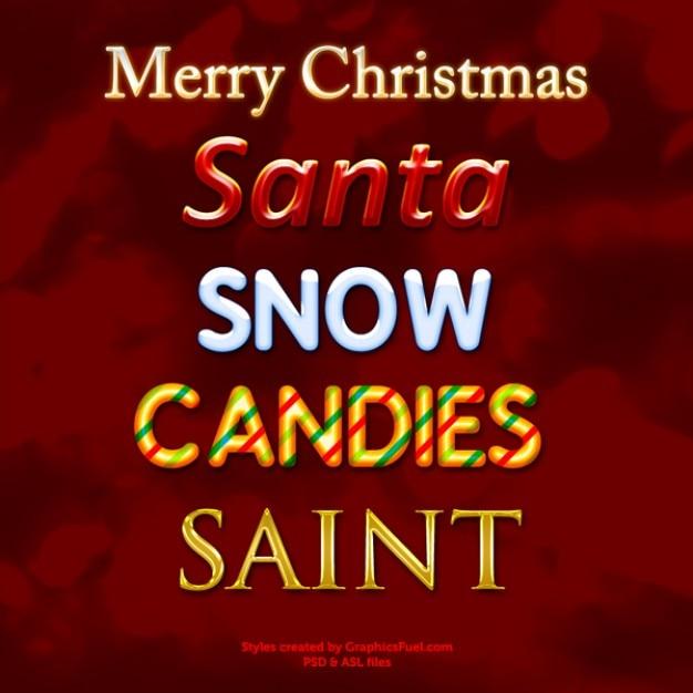 Kerst photoshop tekststijlen Gratis Psd