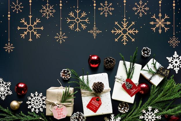Kerst seizoen decoratie ontwerp behang Gratis Psd