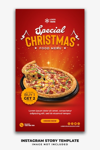 Kerst social media stories template restaurant voor fastfood menu pizza Premium Psd
