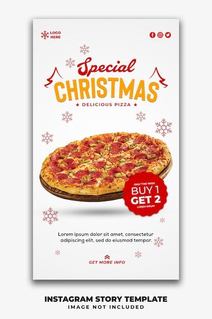 Kerst social media stories template restaurant voor fastfood menu pizza Premium Psd