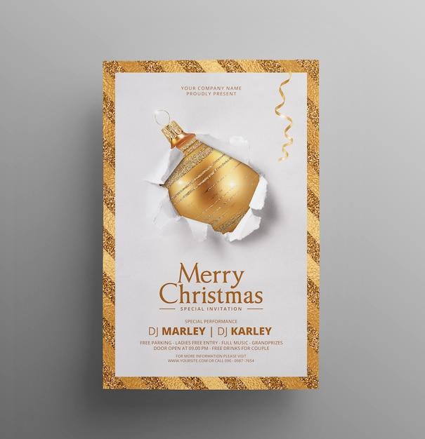 Kerst uitnodiging sjabloon folder Premium Psd