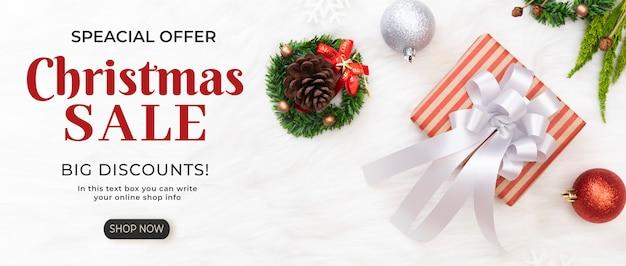 Kerst verkoop banner met korting sjabloon Premium Psd