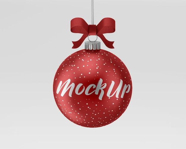 Kerstbal mockup met lint Premium Psd