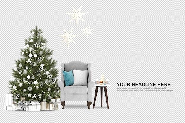 Kerstboom en fauteuil in 3d-rendering Premium Psd