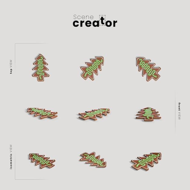Kerstboom peperkoek verscheidenheid hoeken kerst scène maker Gratis Psd