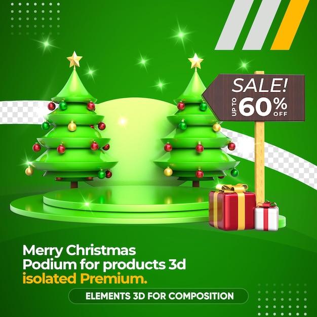 Kerstboom, podium en productverkoopweergave Premium Psd