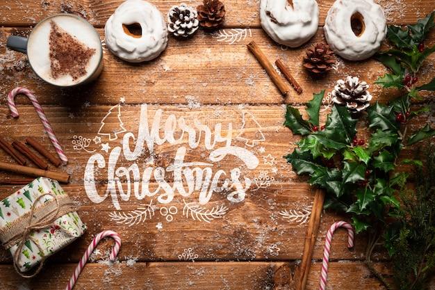 Kerstdecoratie en snoepjes met kopie ruimte Gratis Psd