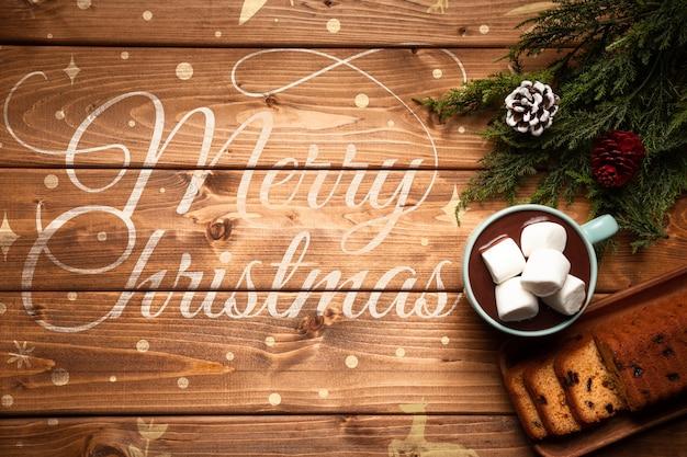 Kerstdecoratie en warme chocolademelk met kopie ruimte Gratis Psd