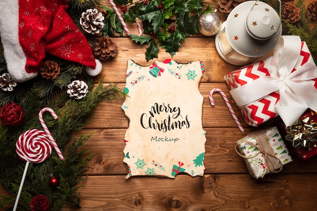 Kerstdecoratie met letter mock-up Gratis Psd