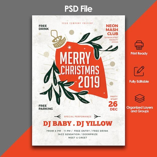 Kerstfeest en feest folder sjabloon Premium Psd