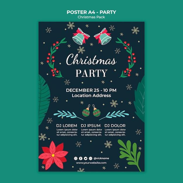 Kerstfeest feest poster Gratis Psd