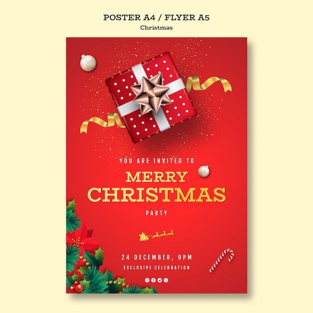 Kerstfeest poster sjabloon Gratis Psd