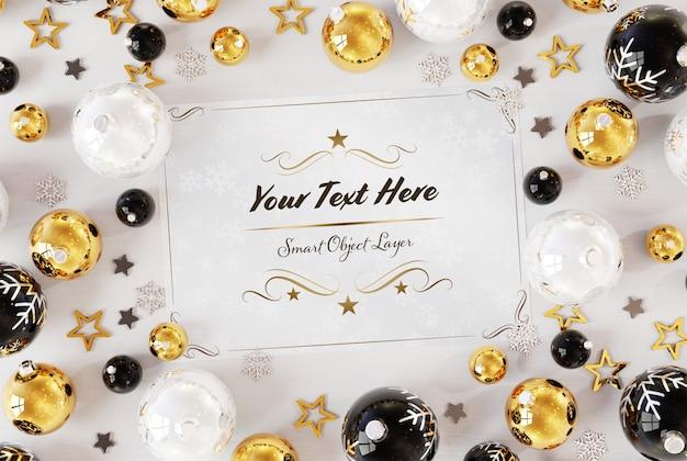 Kerstkaart op wit oppervlak met kerst ornamenten mockup Premium Psd