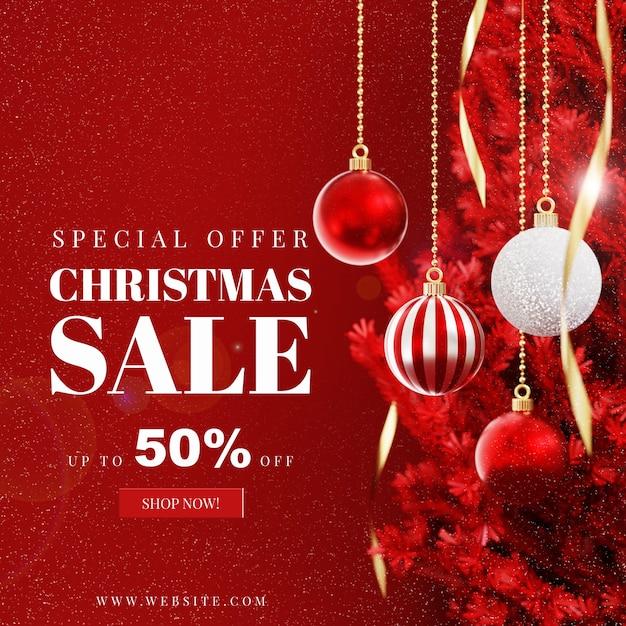 Kerstkaartmodel met decoratie Premium Psd