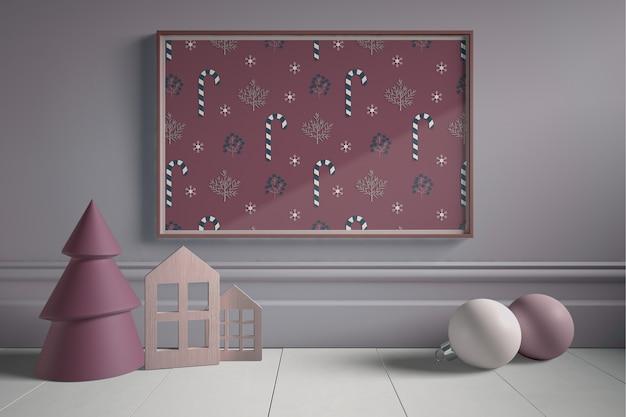 Kerstkunstwerk met miniatuurkunstwerk Gratis Psd
