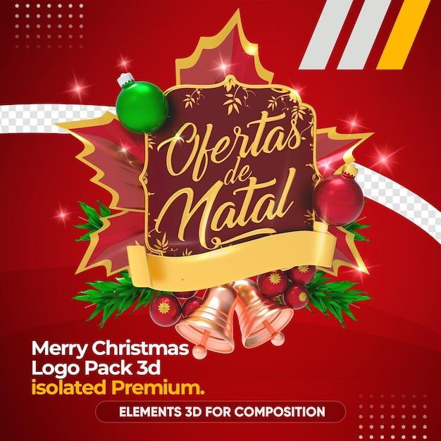 Kerstmis biedt logo in 3d-rendering mockup Premium Psd