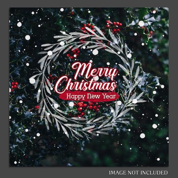 Kerstmis en gelukkig nieuwjaar 2019 foto mockup en instagram post sjabloon voor sociale medi Premium Psd