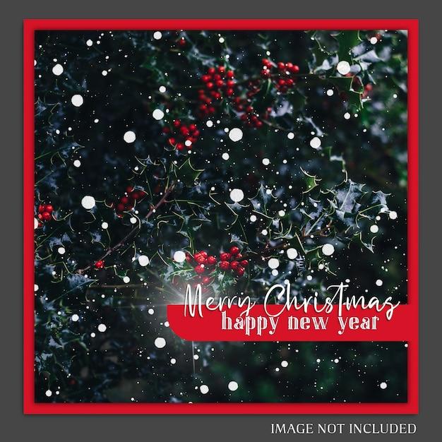 Kerstmis en gelukkig nieuwjaar 2019 fotomodel en instagram postmalplaatje Premium Psd