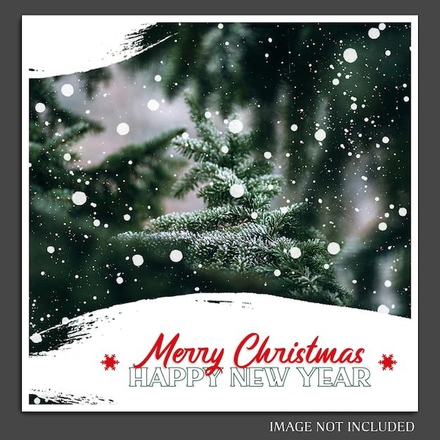 Kerstmis en gelukkig nieuwjaar 2019 fotomodel en instagram postsjabloon voor sociale media Premium Psd