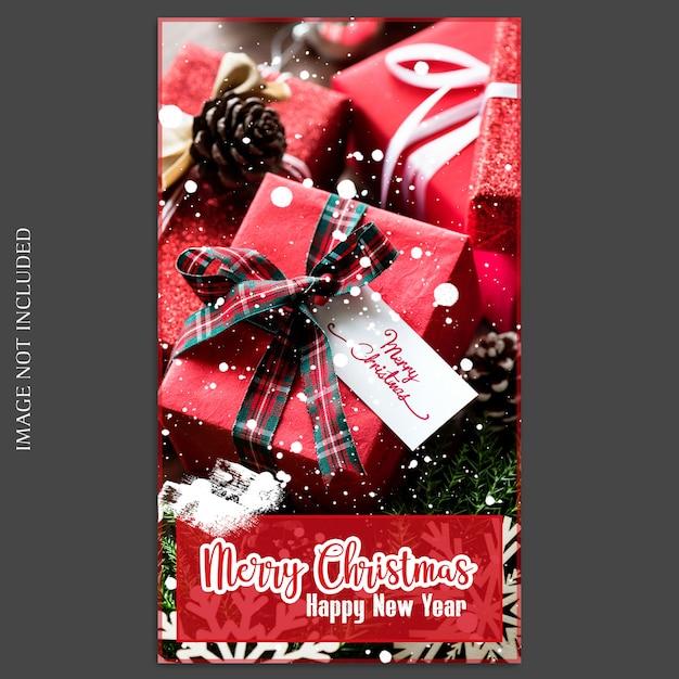 Kerstmis en gelukkig nieuwjaar 2019 photo mockup en instagram story template Premium Psd