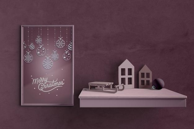 Kerstthema op het schilderen van mock-up Gratis Psd