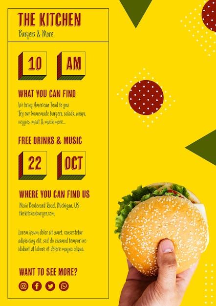 Keuken hamburger menusjabloon Gratis Psd