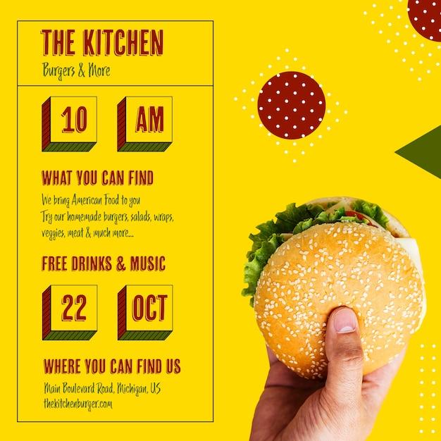 Keuken menu openingstijd met hamburger Gratis Psd